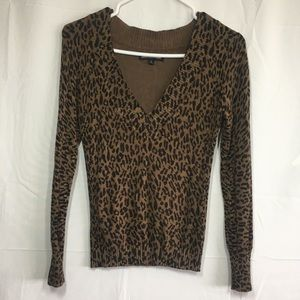 Express Size Small V Neck Cheetah Print Sweater